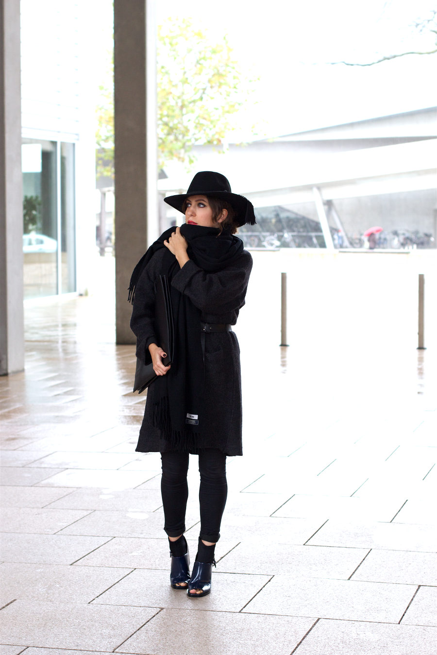 all black outfit shellys london and acne canada