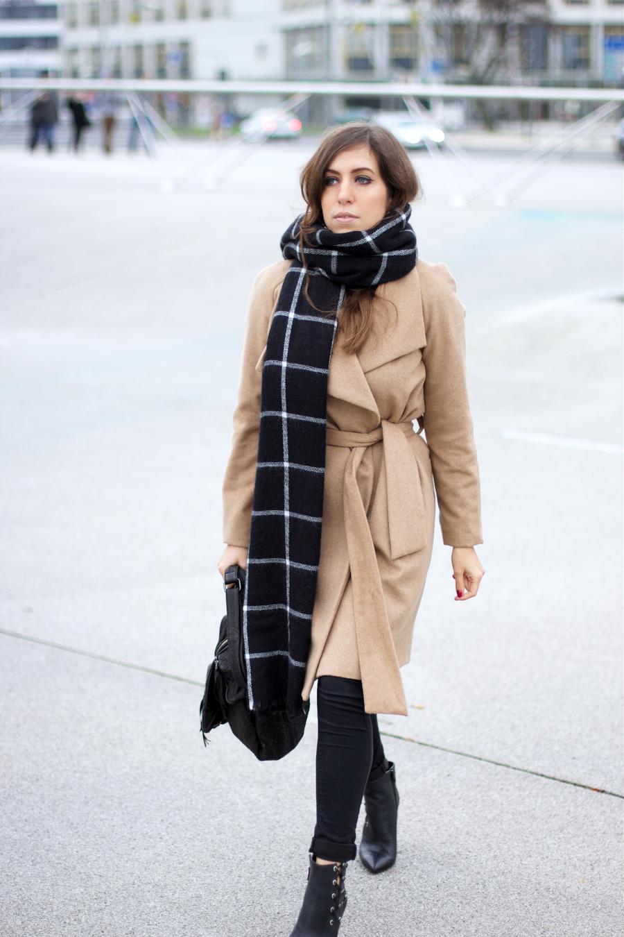 mango camel coat blanket scarf