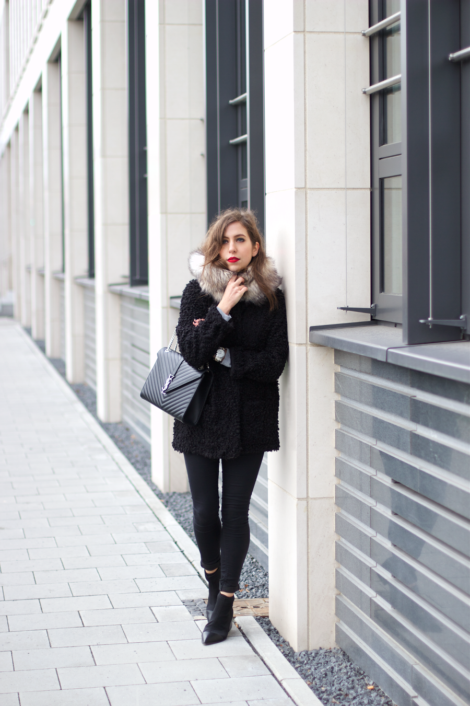 Black Fluffy Coat YSL Bag Outfit