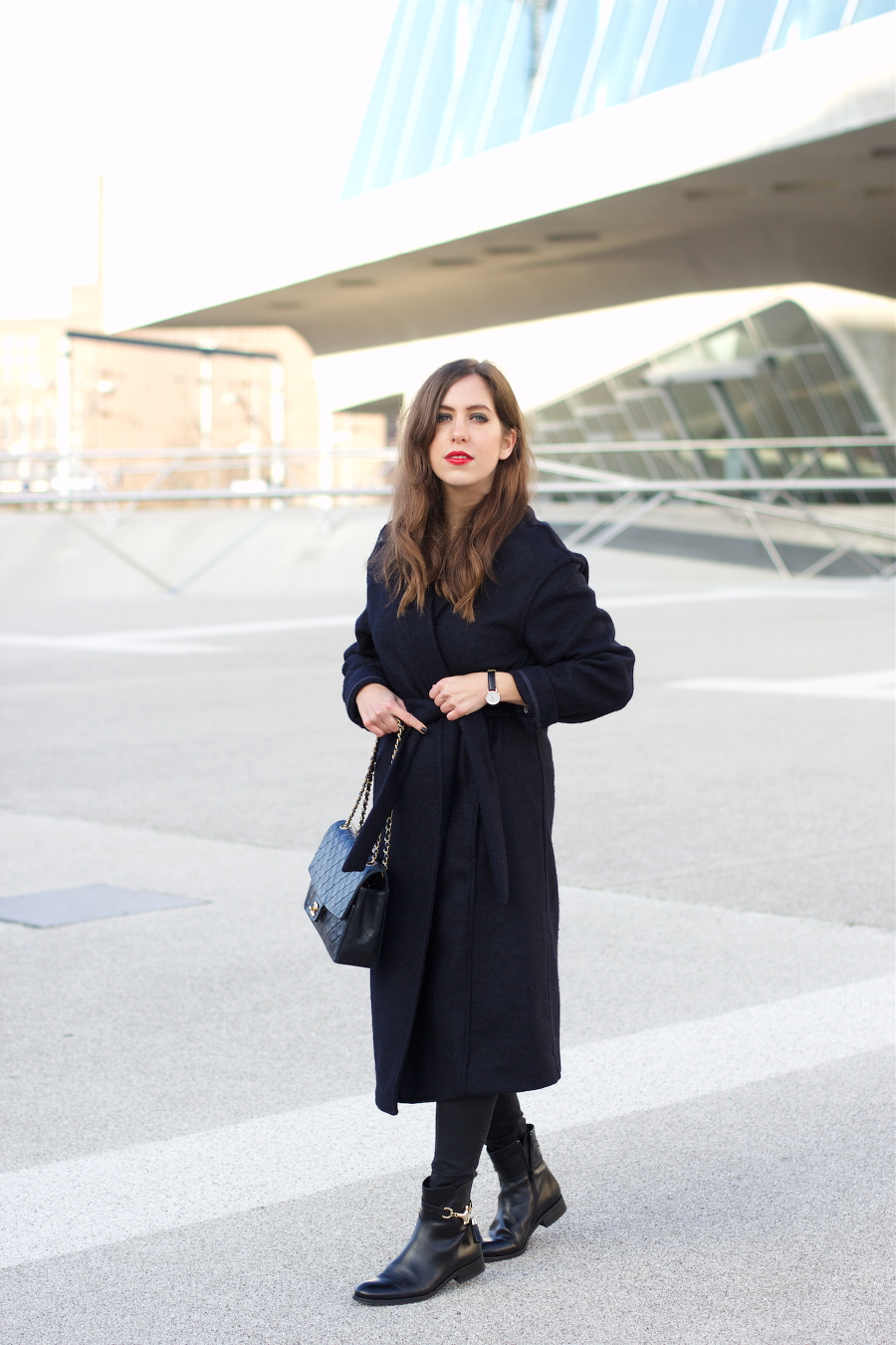 Navy Blue Coat Chanel Bag Fall Winter Outfit