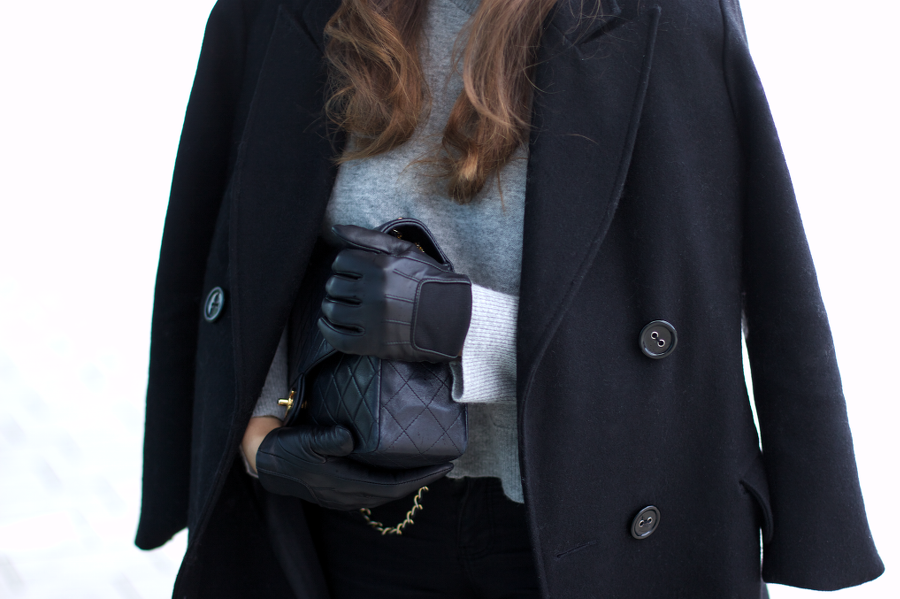 Black Coat XXL Scarf Outfit Chanel