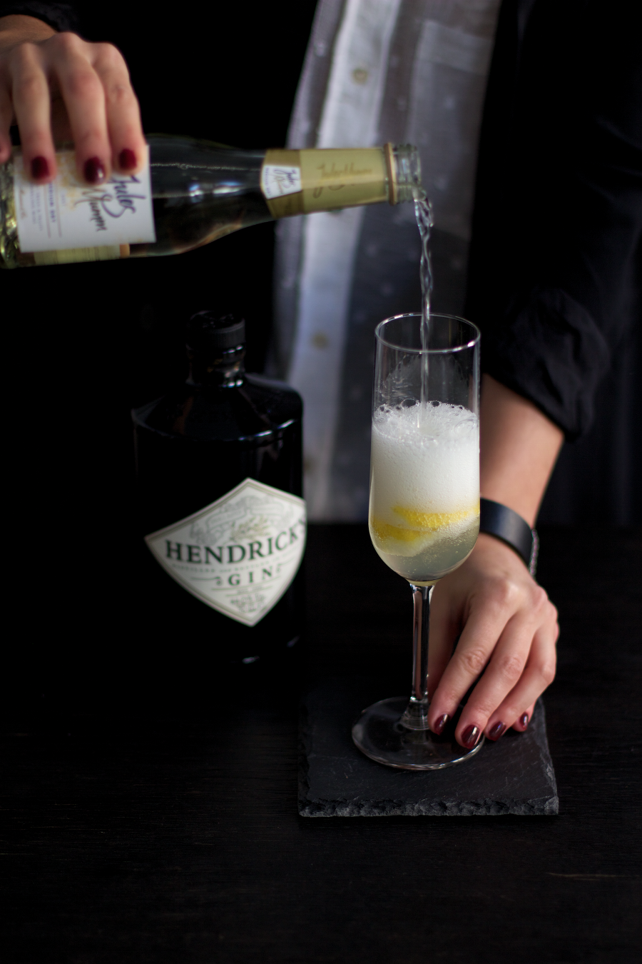 French 75 Champagne Hendricks Gin Cocktail