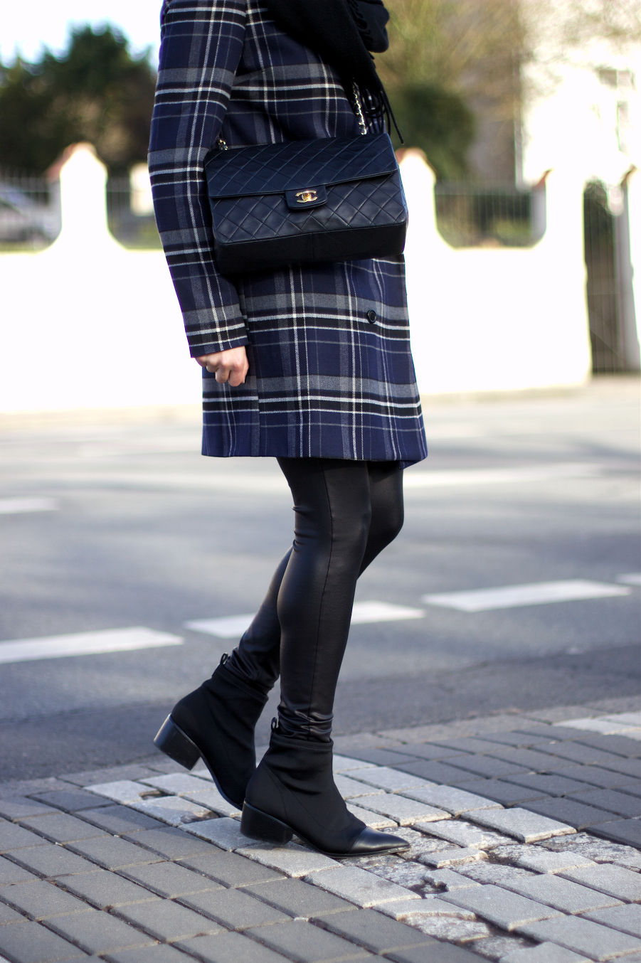 Asos Checked Coat Leather Chanel Look