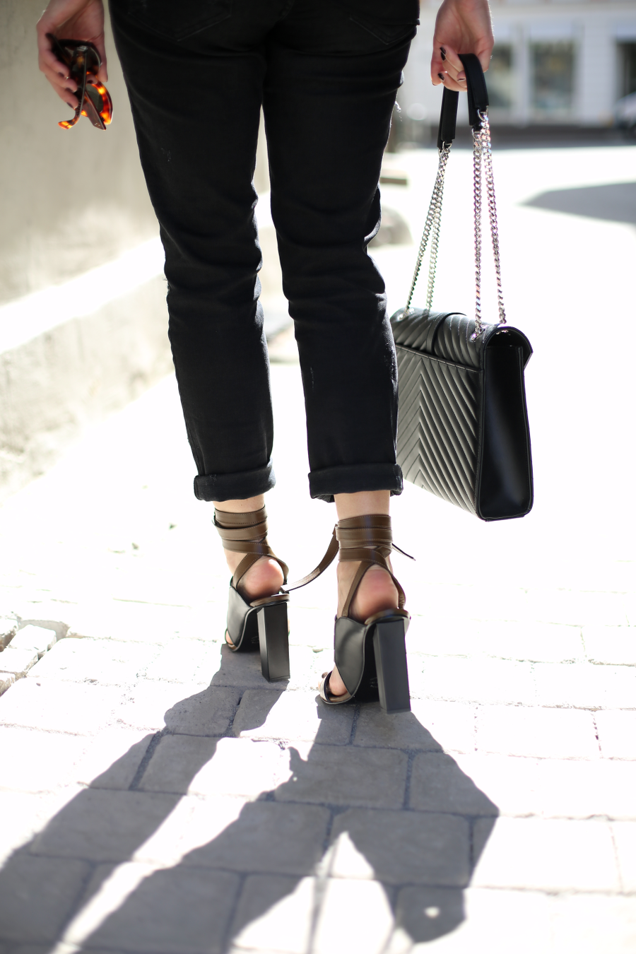 Black Blouse Ripped Jeans Outfit