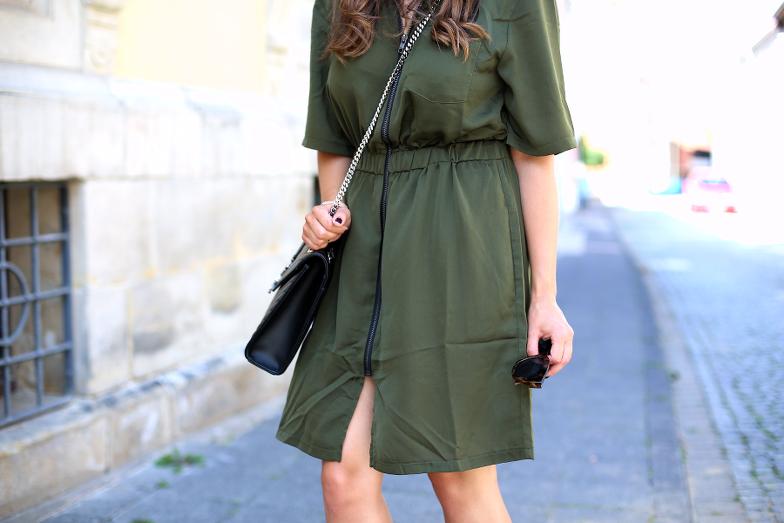 Military Green Shirt Dress