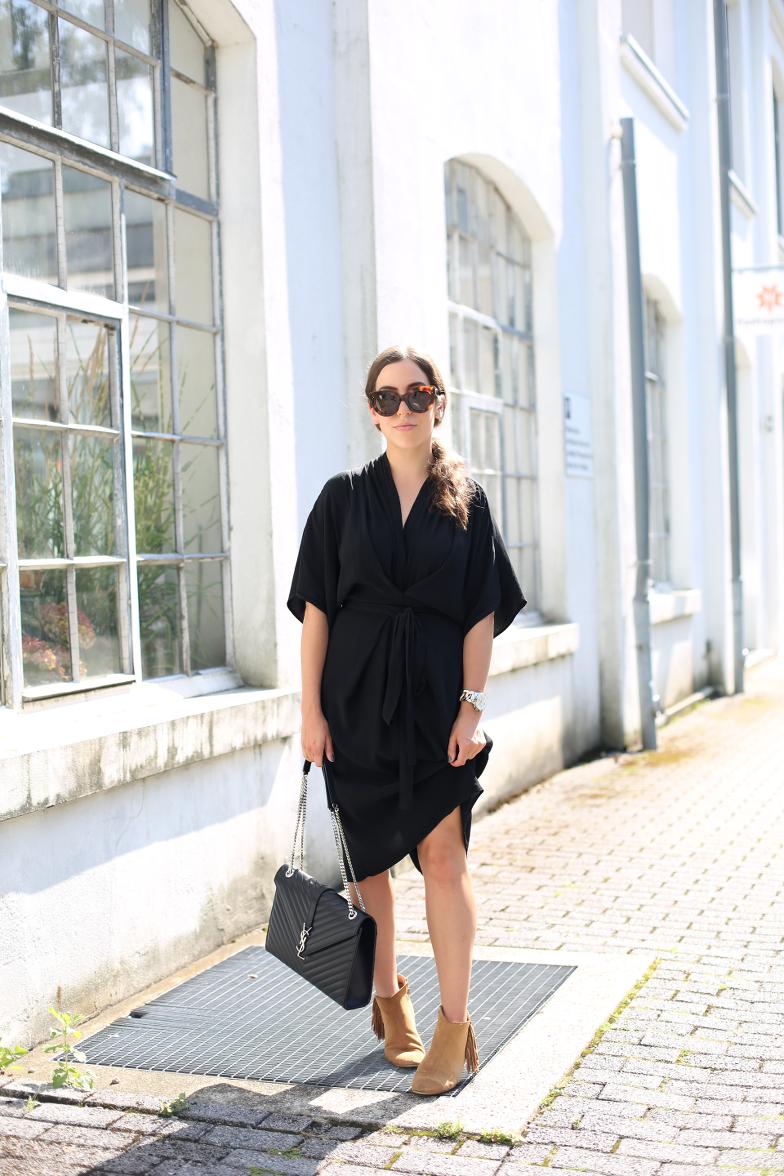 The Dashing Rider Black Kimono Dress