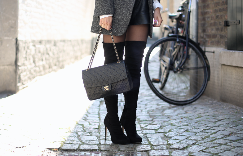 Overknee Fall Outfit Idea Chanel Bag