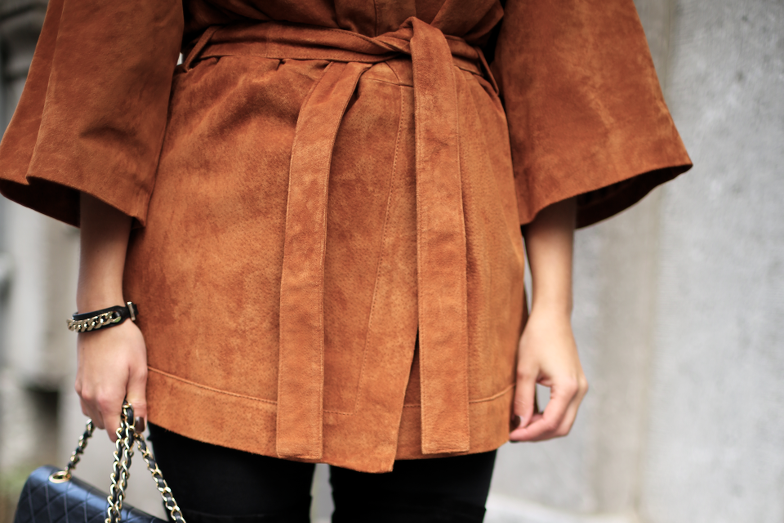 Brown Suede Kimono Coat