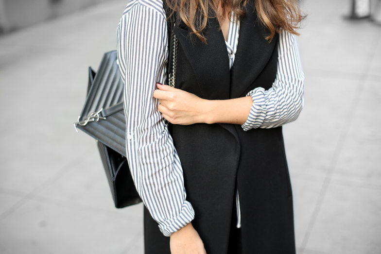 7aac7f4b6b0e new-york-outfit-zara-sleeveless-coat-zign-black-ankle-boots-striped-shirt- celine-caty-sunglasses-saint-laurent-monogramme-cassandre-bag-3 -