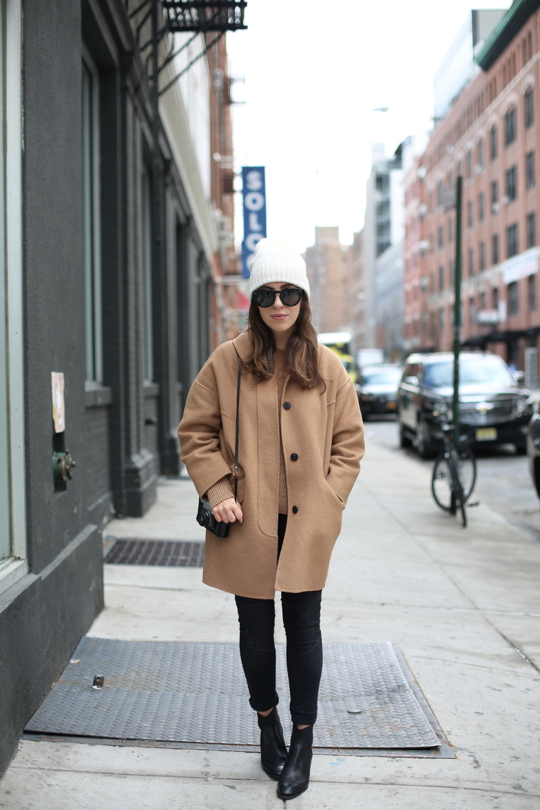 New York Outfit Camel Coat