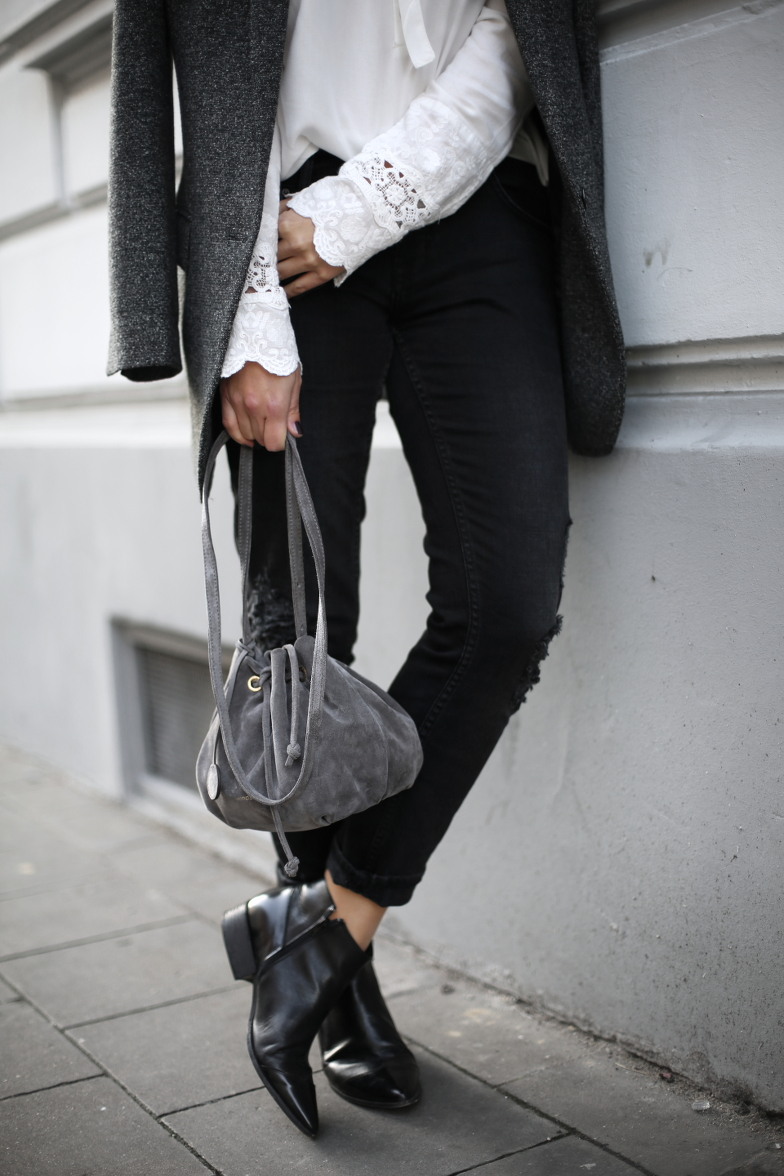 Spring Blazer Outfit Bucket Bag