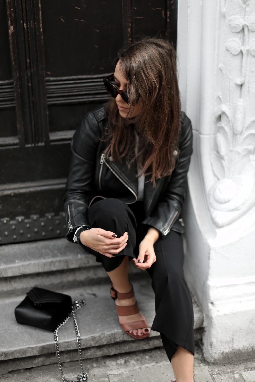Black Biker Jacket Outfit Spring