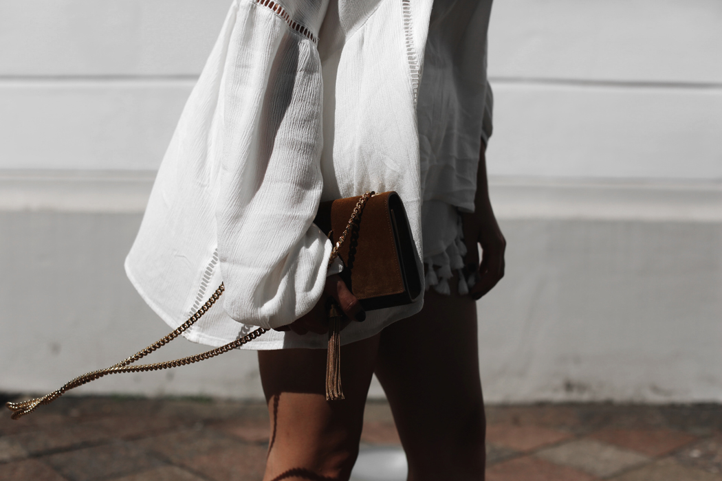 The Dashing Rider White Summer Saint Laurent Bag Outfit