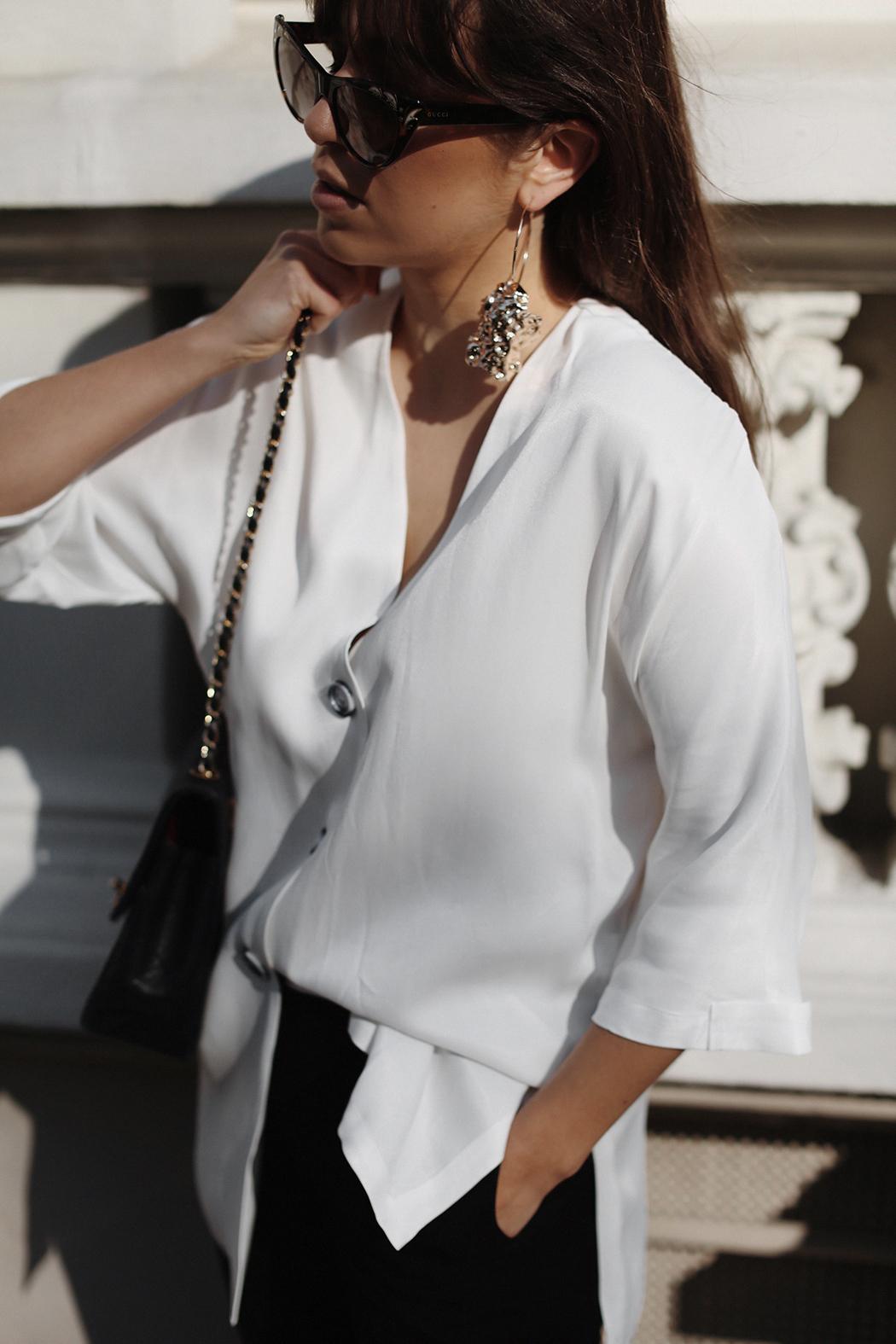 The Dashing Rider White Zara Blouse Vintage Chanel Outfit