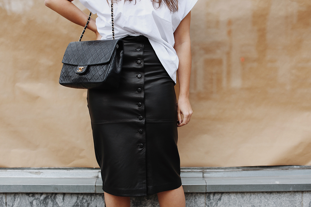 The Dashing Rider Edited Leather Pencil Skirt