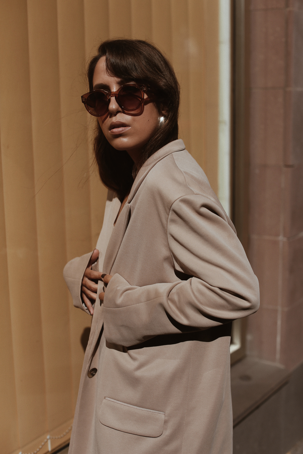 The Dashing Rider Neutral Outfit with Halston Heritage Blazer