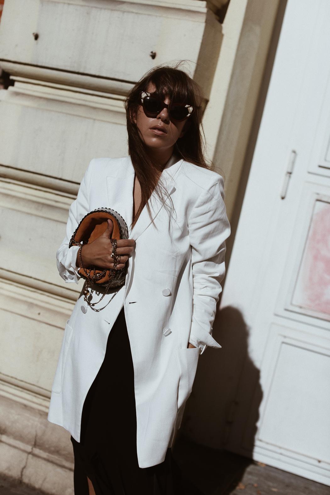 The Dashing Rider White Zara Blazer & Rejina Pyo Skirt